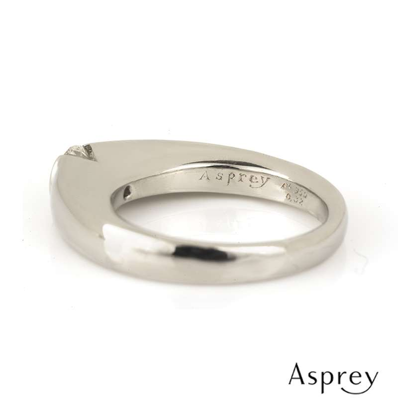 Asprey Diamond Engagement Ring and Matching Band in Platinum 0.32ct H/VS1
